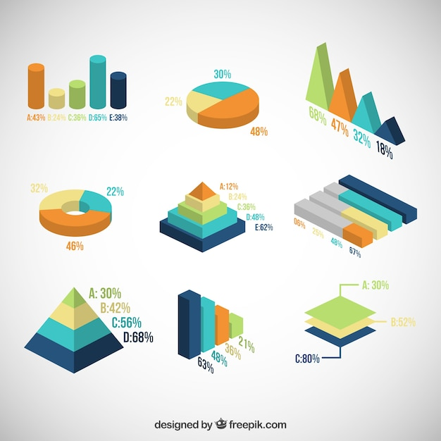 Colorful charts Free Vector