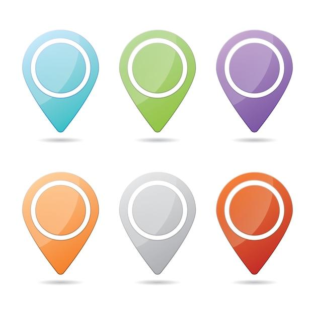 6 개의 디자인 요소 그림으로 구성된 다채로운 체크 포인트 아이콘 웹 사이트 세트 무료 벡터