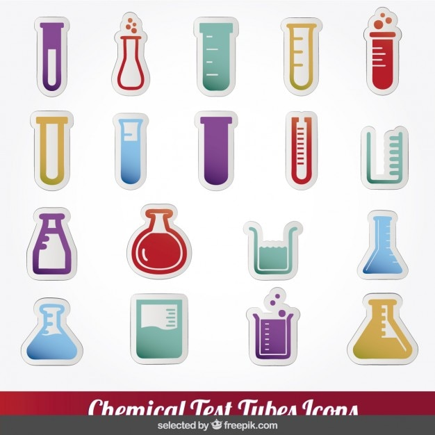 Colorful chemical test tubes icons collection Free Vector