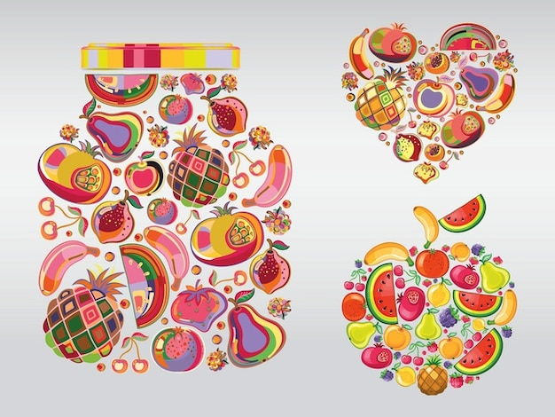 Colorful cherry Fruit illustrations\ vector