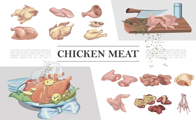 Colorful chicken meat composition with legs breast feet ham wings fillet thigh heart liver knife on cutting board roasted chicken Free Vector