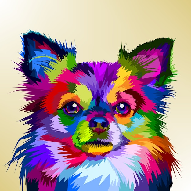 Colorful chihuahua dog in pop art style Premium Vector
