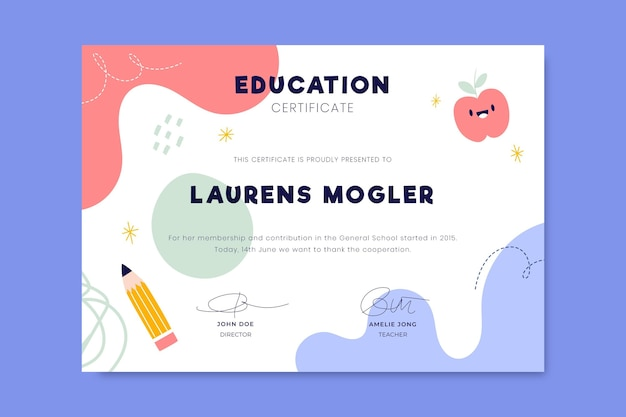 Colorful child-like education certificate Free Vector