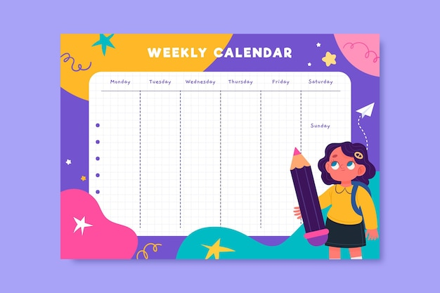 Colorful child-like weekly education calendar Free Vector