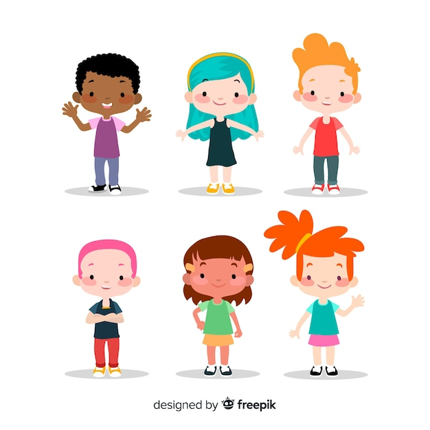 Colorful children collection with flat design Premium Vector