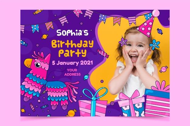 Colorful children's birthday invitation template Premium Vector