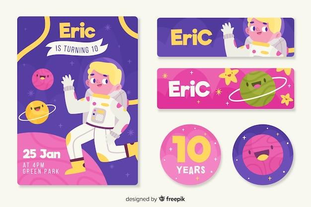 Colorful children's birthday invitation template Free Vector