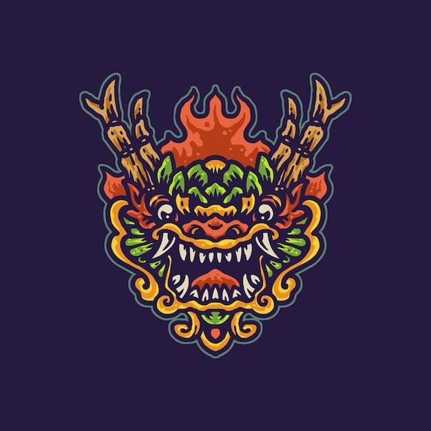 Красочный китайский дракон иллюстрации шаржа Premium векторы