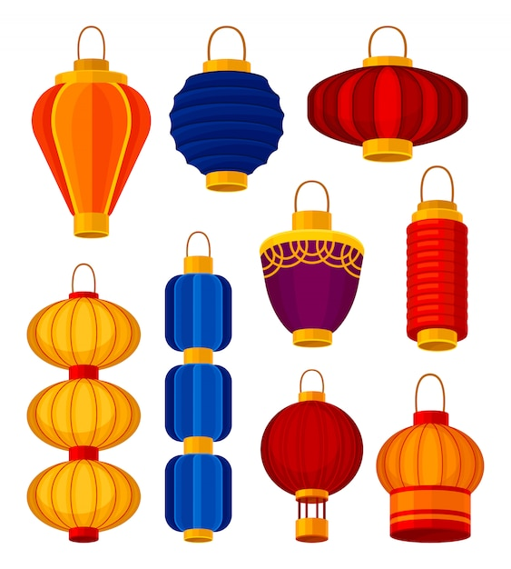 Colorful chinese lanterns.  element and asian traditions. Premium Vector