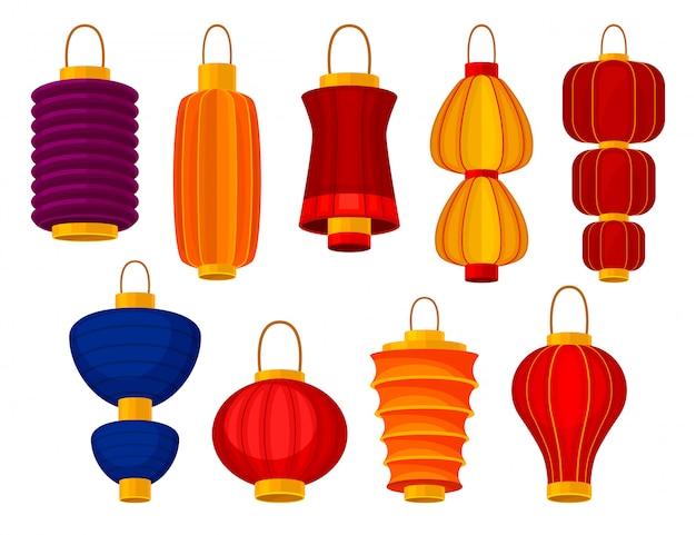 Colorful chinese lanterns on white background.  illustration. Premium Vector