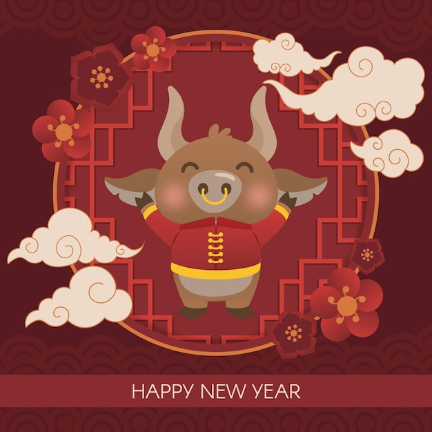 Colorful chinese new year 2021 Premium Vector