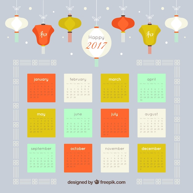 Colorful chinese new year calendar with lanterns