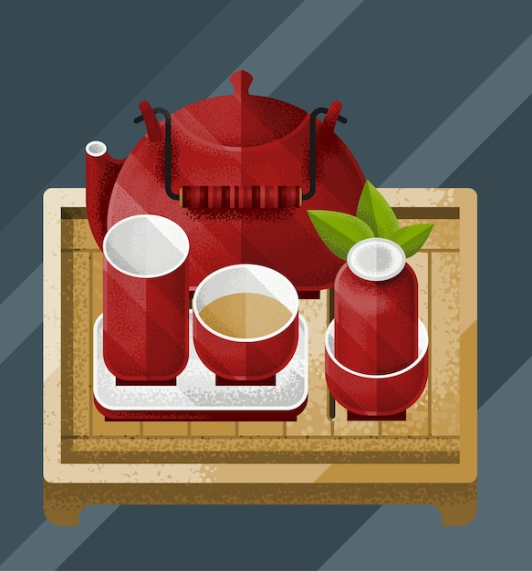 Colorful chinese tea table illustration with green leaf red kettle and pairs Free Vector