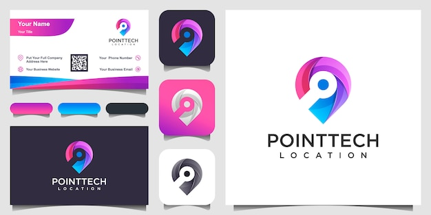 Colorful chip location   inspiration and business card Premium Vector