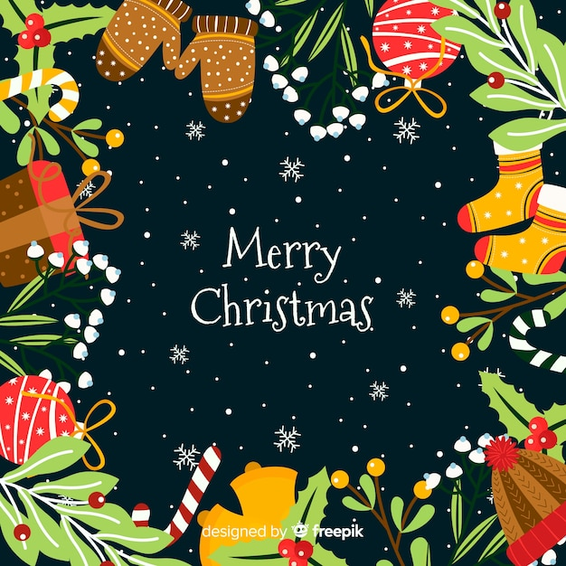 Colorful Christmas Background Design.Colorful Christmas Background In Flat Design Vector Free