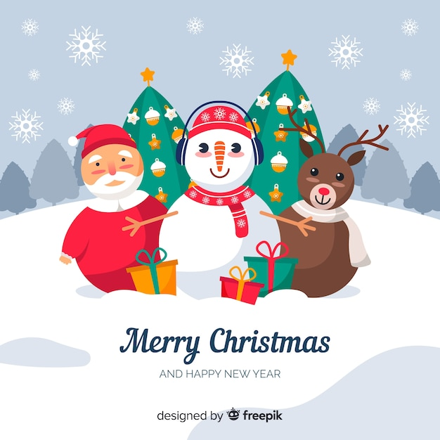 Colorful christmas background in flat design Free Vector