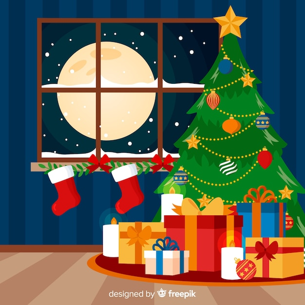 Colorful christmas background with flat design Free Vector