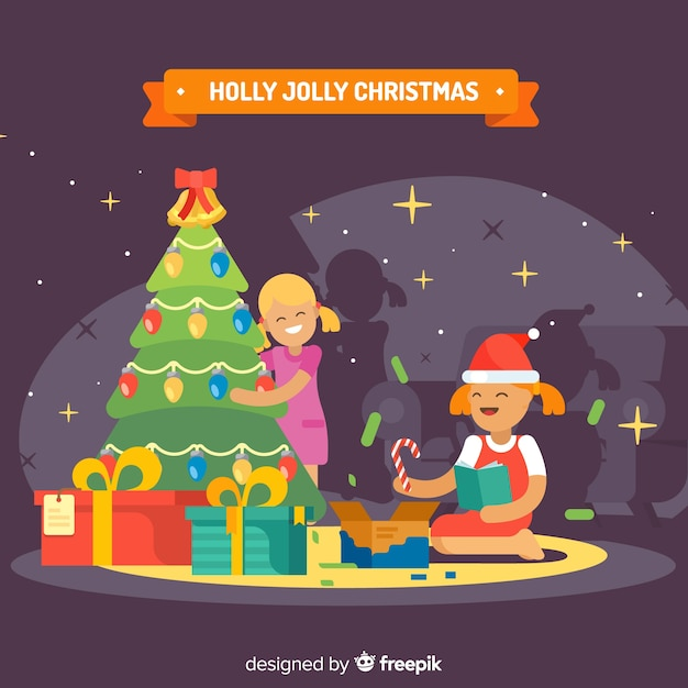 Colorful Christmas Background Design.Colorful Christmas Background With Flat Design Vector Free