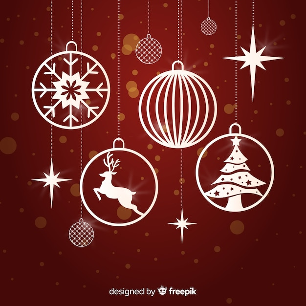 Colorful christmas ball collection with flat design Free Vector