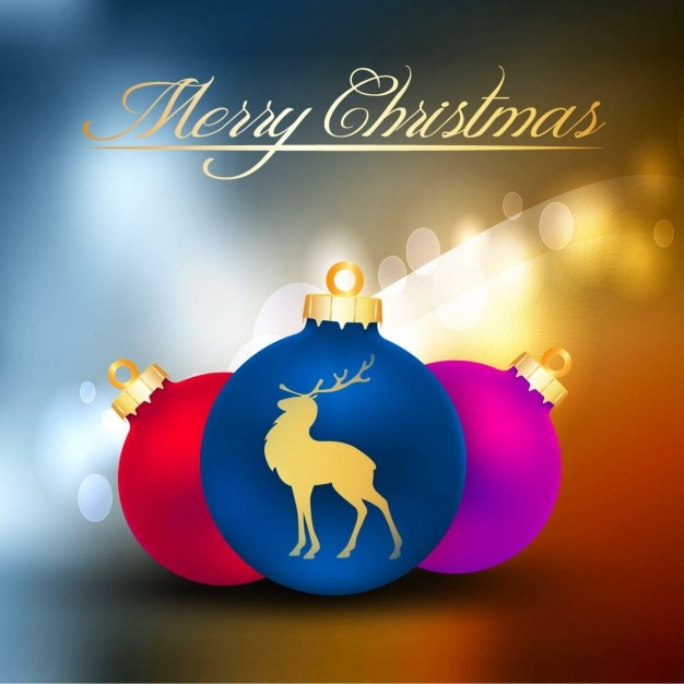 Colorful Christmas Balls On Shiny\ Background