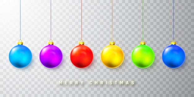 透明な背景にカラフルなクリスマスボール Premiumベクター