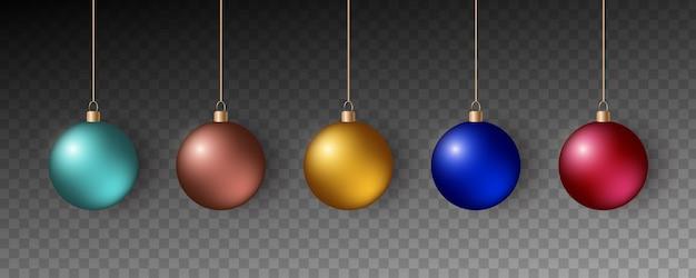 Colorful christmas balls. set of realistic decorations. Premium Vector