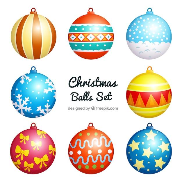Colorful Christmas Balls.Colorful Christmas Balls Set Vector Premium Download