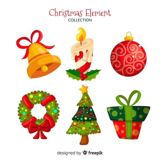 Colorful christmas element collection with flat design Free Vector