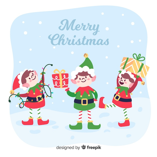 Colorful christmas elf background in flat design Free Vector