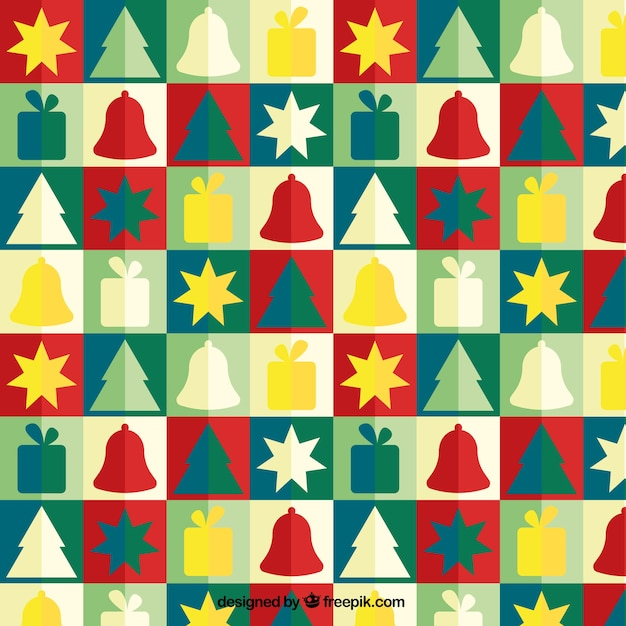 Colorful christmas icons patterns Premium Vector