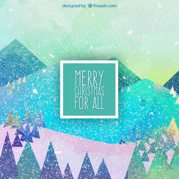 Colorful christmas landscape background
