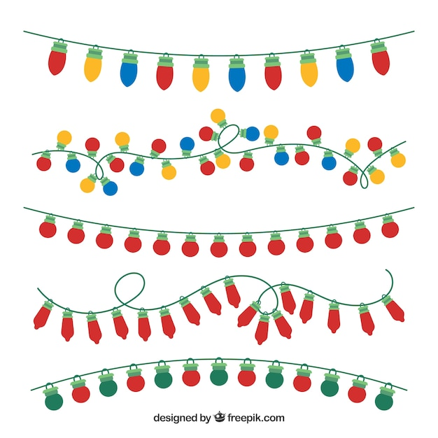 colorful christmas lights pack vector free download rh freepik com free vector christmas lights border