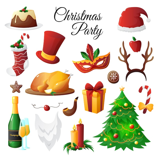 Colorful christmas and new year symbols party set isolated on white background Free Vector