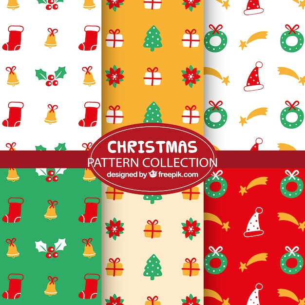 Colorful christmas patterns with decorative items Free Vector