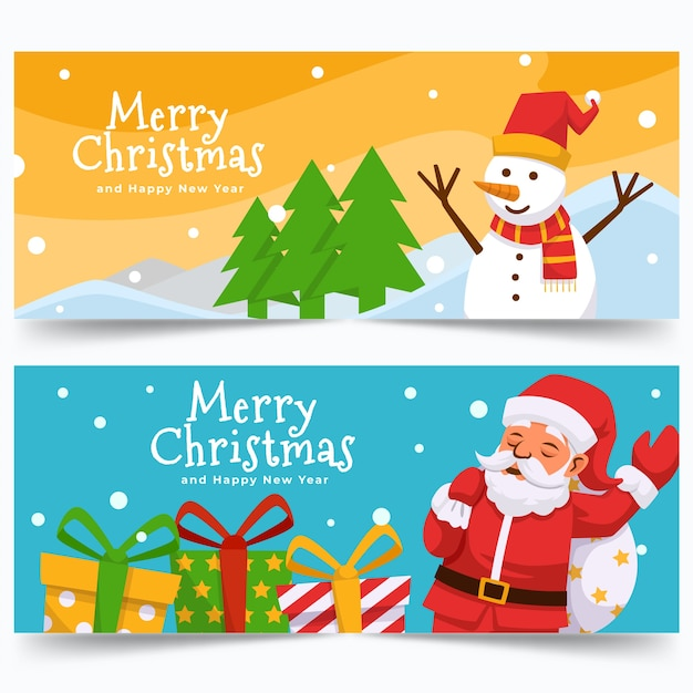 Colorful christmas sale banners in flat design Free Vector