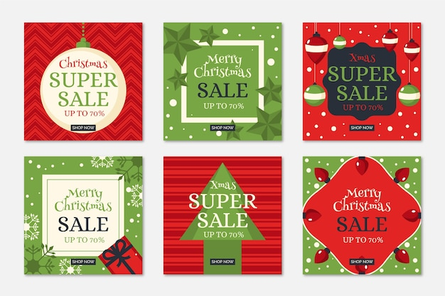 Colorful christmas sale instagram post collection Free Vector