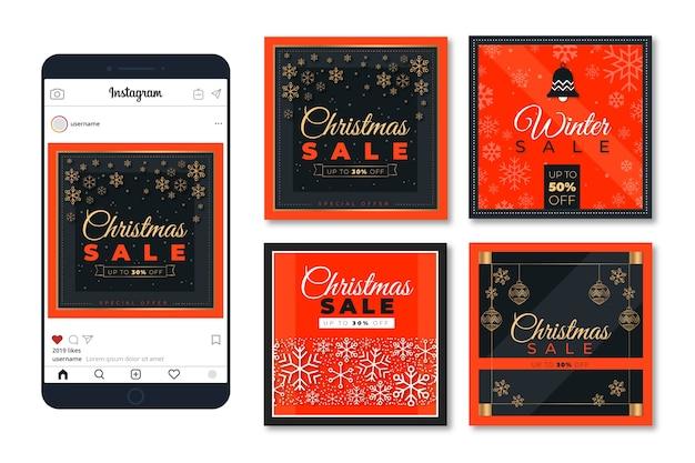 Красочные рождественские продажи instagram пост коллекция Бесплатные векторы