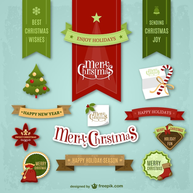 Colorful Christmas stickers Free Vector