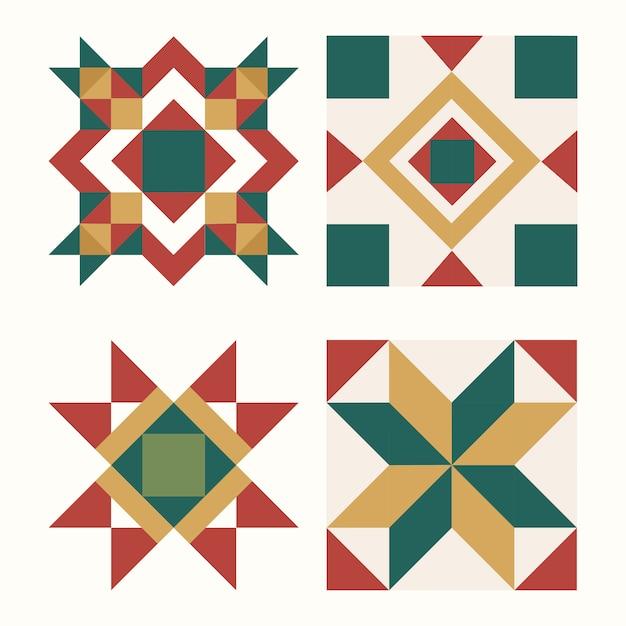 Красочные рождественские плитки геометрический дизайн вектор Бесплатные векторы