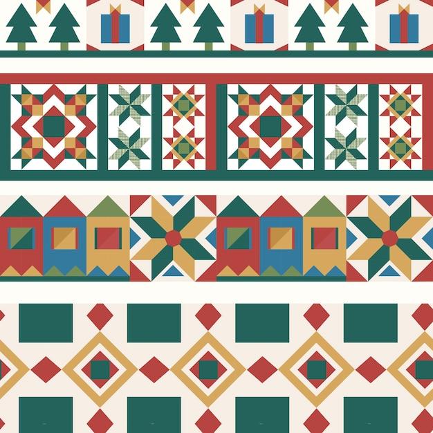 Красочные рождественские плитки геометрический бесшовный фон Бесплатные векторы