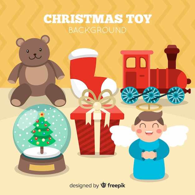Colorful christmas toys background Free Vector