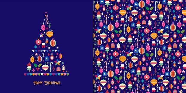 Красочная рождественская елка с орнаментом бесшовные модели Premium векторы