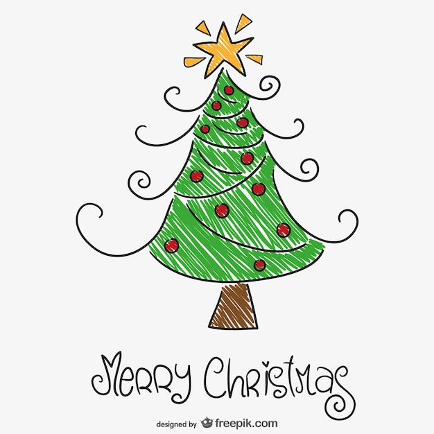Colorful Christmas Tree Drawing Free Vector