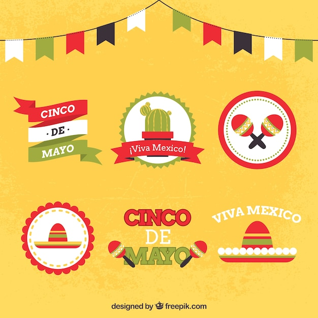 Colorful cinco de mayo badges Free Vector