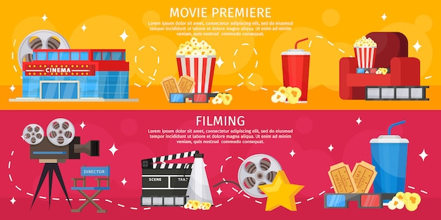 Colorful cinema horizontal banners Free Vector