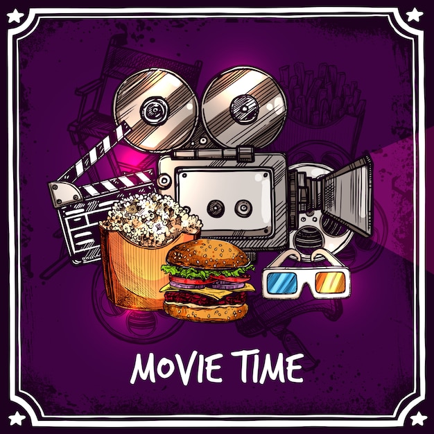 Colorful cinema template Free Vector