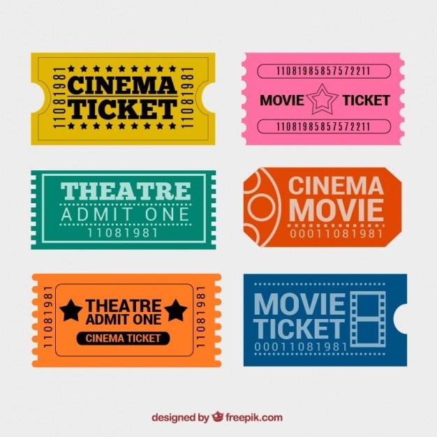 훌륭한 디자인의 화려한 영화 티켓 무료 벡터
