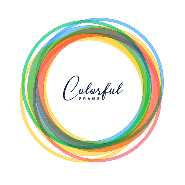 Colorful circle frames set background Free Vector