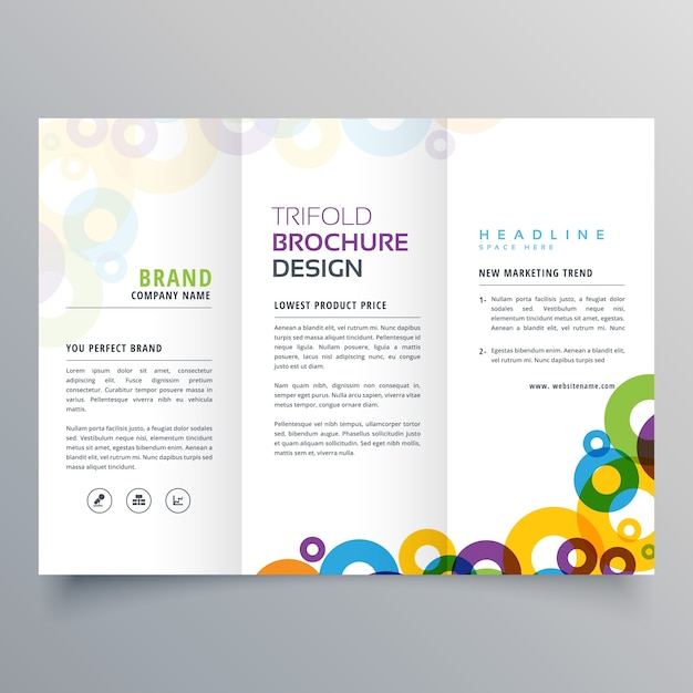 colorful circles business tri fold brochure vector design template Free Vector