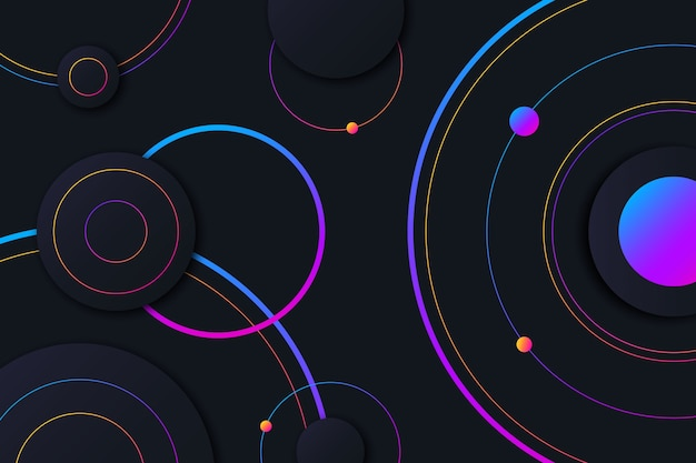 Colorful circles on dark background Free Vector